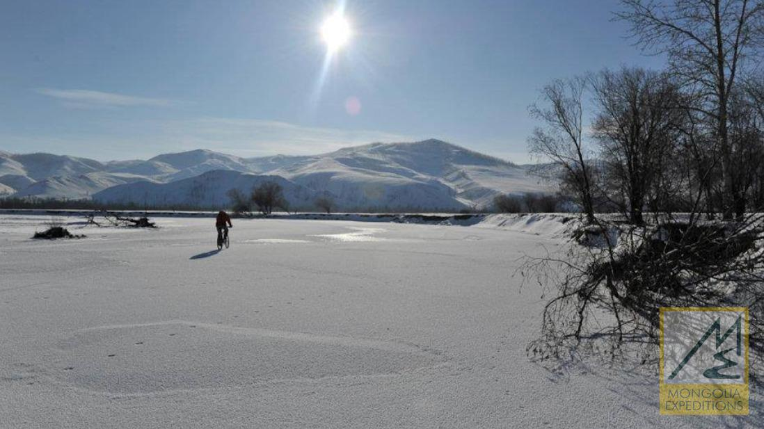 Winter bike tour in Mongolia