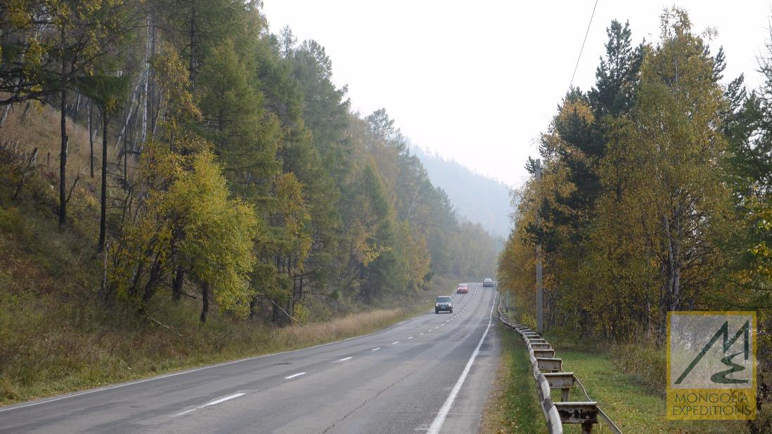 Road to Baikal lake
